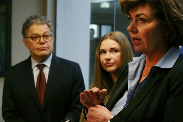 Sen. Al Franken and Abby Honold looked on in October 2017 as Beth Roberts, a retired police officer, talked about legislation aimed toward better trai