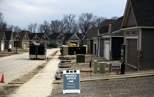 New homes going up in Plymouth in April. Housing construction in the Twin Cities has been bolstered by shifting demographics, solid buying conditions