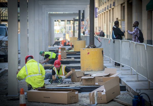 Construction work on Nicollet Mall during late summer.