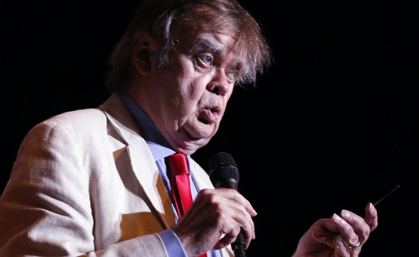 """In this May 21, 2016, photo, Garrison Keillor appears during a live broadcast for """"A Prairie Home Companion"""" at the State Theatre in Minneapolis. """"W"""