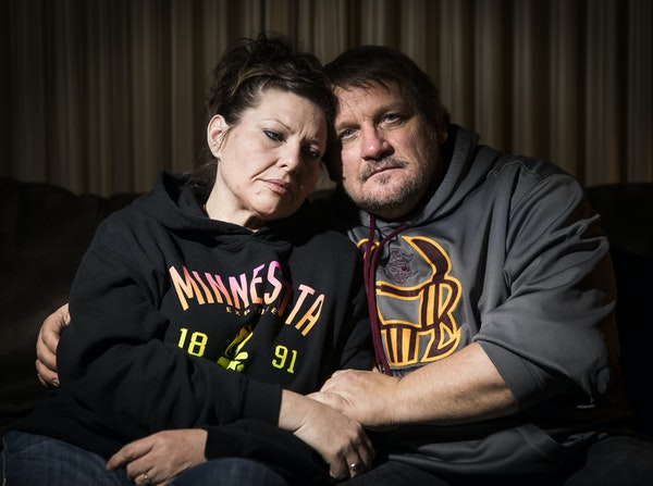"""""""My son is the victim, and he is the one being punished,"""" said Tonya Hurley, with husband Dale at home in Blue Earth, Minn."""