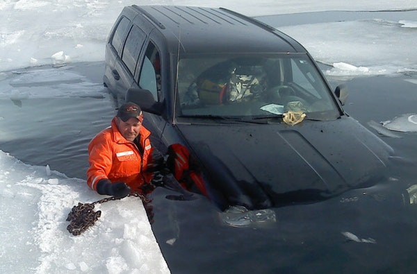 Jim Staricha owns Northland Towing in Isle, Minn., on the shores of Mille Lacs, where he is busy every winter recovering vehicles that have fallen thr