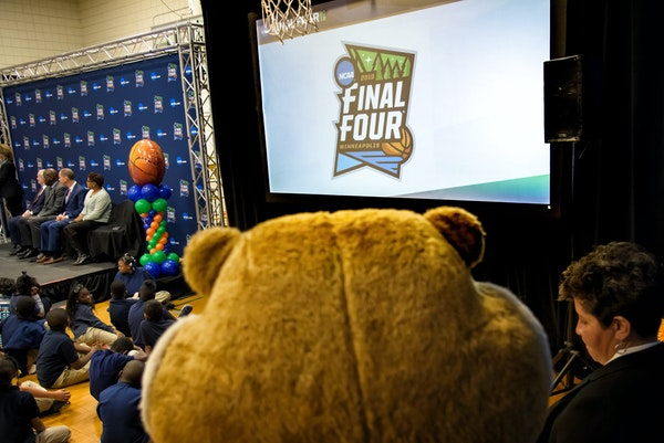 The 2019 Final Four logo features four shimmering stars (representing its four trips to Minneapolis), four green trees and a little Mississippi River