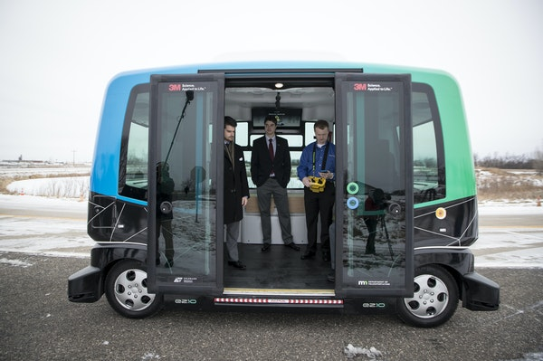 MnDOT is held a press event at the research center in Monticello, Minn. to introduce its autonomous bus they have been testing in harsher Minnesota co
