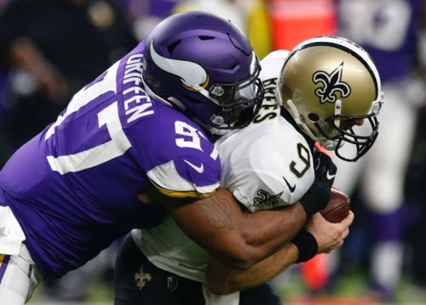 Saints quarterback Drew Brees will get a rematch against defensive end Everson Griffen and the Vikings in the NFC divisional round at U.S. Bank Stadiu