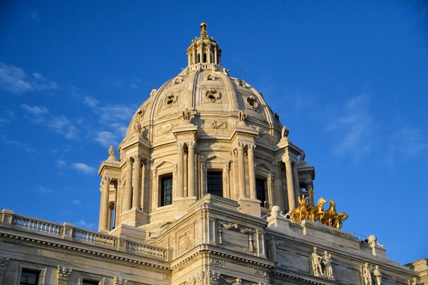 The Minnesota State Capitol in the evening sun
