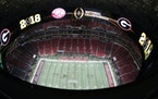 Mercedes-Benz Stadium Field is seen before the College Football Playoff national championship game between Georgia and Alabama on Monday in Atlanta.