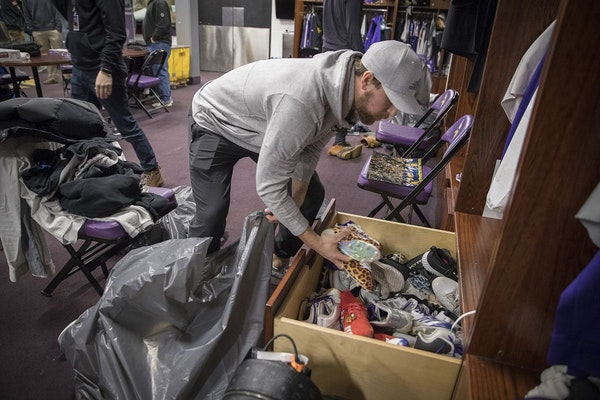 Minnesota Vikings wide receiver Adam Thielen cleaned out his locker at Winter Park.