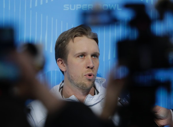 Eagles quarterback Nick Foles talked during Super Bowl LII Opening Night at Xcel Energy Center on Monday night.