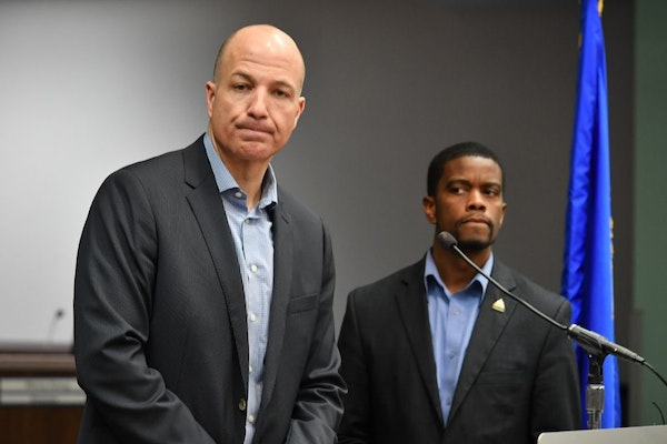 St. Paul schools Superintendent Joe Gothard and Mayor Melvin Carter held a a joint news conference to address the problems Monday with getting student