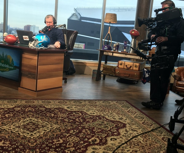 Dan Patrick brought his radio show to the Twin Cities ahead of Super Bowl LII, seen above broadcasting Tuesday.