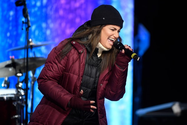 """Idina Menzel sang """"Let It Go"""" on Nicollet Mall on Friday night in downtown Minneapolis."""