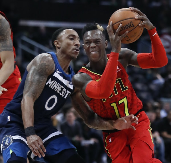 Hawks guard Dennis Schroder drove against Wolves guard Jeff Teague during the first half Monday night in Atlanta.