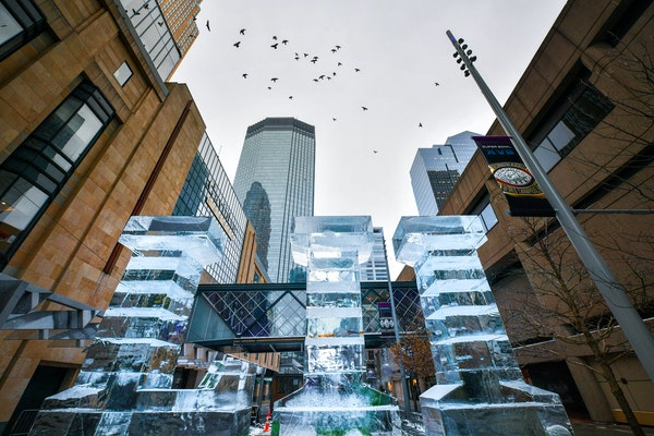 An LII ice sculpture greets people at 6th Street and Nicollet Mall.