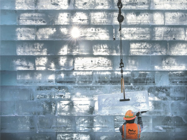 For two full weeks, crews were busy working on the 70-foot-high castle of ice on the south end of St. Paul's Rice Park.