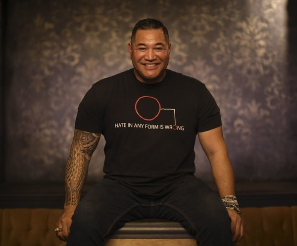 Former Viking Esera Tuaolo, photographed at Pourhouse in Minneapolis, where he will host his Inclusion Party ahead of the Super Bowl.