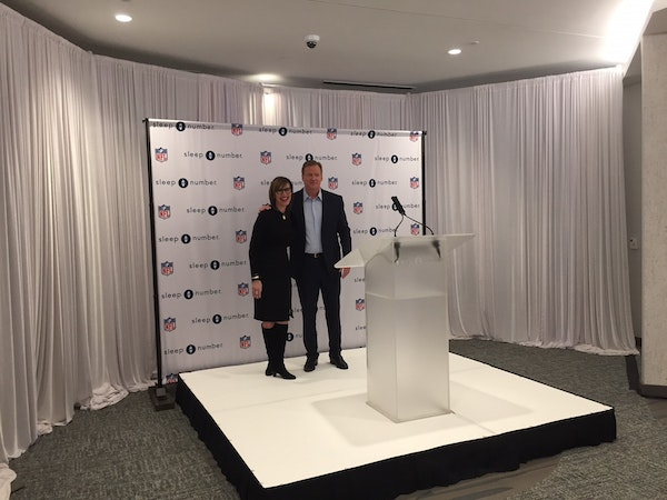 Sleep Number CEO Shelly Ibach and NFL Commissioner Roger Goodell announced the partnership on Thursday.