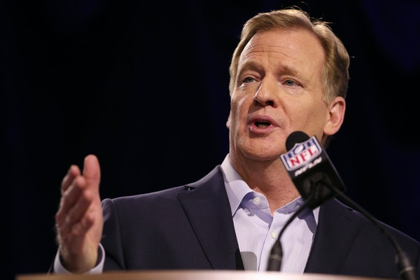 NFL Commissioner Roger Goodell spoke during his annual press conference.