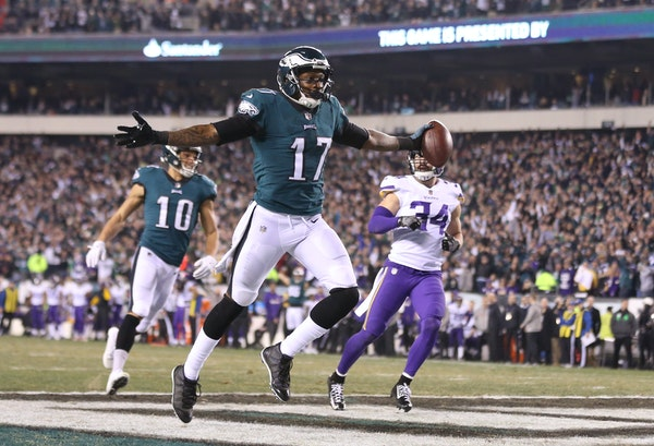 Eagles wide receiver Alshon Jeffery celebrated as he scored on a 53-yard touchdown in the second quarter against the Vikings in Sunday's NFC Champions