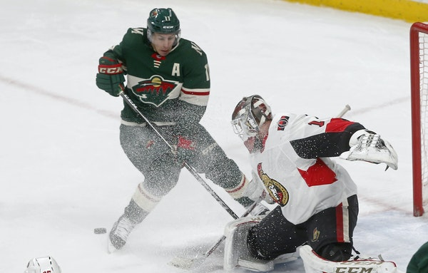 Zach Parise threatened but couldn't beat Ottawa goaltender Mike Condon on Monday in St. Paul. (AP photo by Jim Mone)