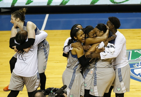 The Minnesota Lynx celebrate after winning the WNBA finals against the Los Angeles Sparks at Williams Arena, Wednesday, Oct. 4, 2017 in Minneapolis. (