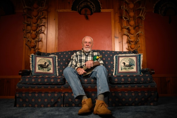 Bud Grant's Bloomington basement reveals his life's passion: the outdoors. Hunting stories, not football memories, have dominated the former Vikin