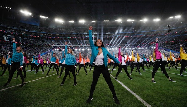 Dancers performed Sunday during the halftime show headlined by Justin Timberlake during Super Bowl LII at U.S. Bank Stadium in Minneapolis.
