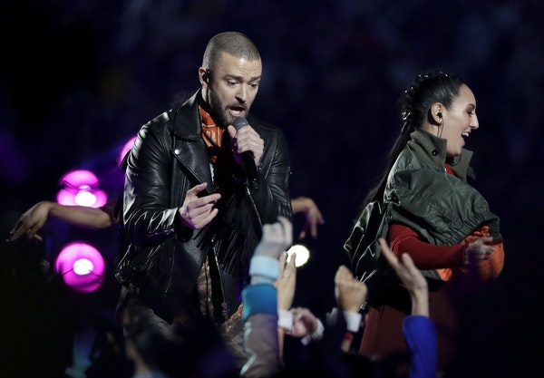 Justin Timberlake performs during halftime of the NFL Super Bowl 52 football game between the Philadelphia Eagles and the New England Patriots Sunday,
