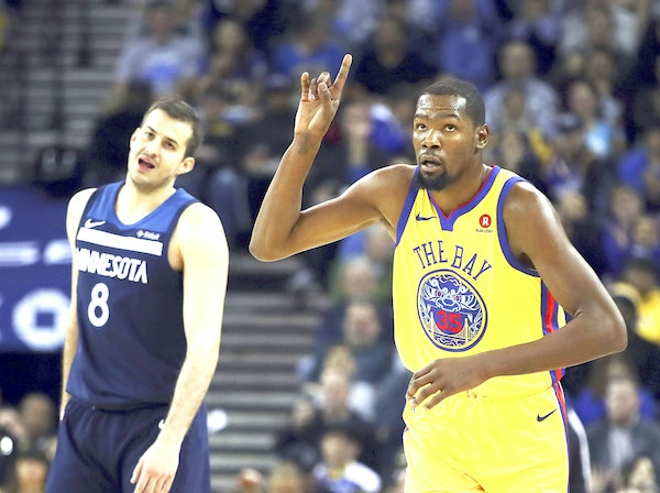 Nemanja Bjelica and the Wolves lost by 13 to Kevin Durant and the Warriors on the second night of a back to back in late January in Oakland, Calif. (A