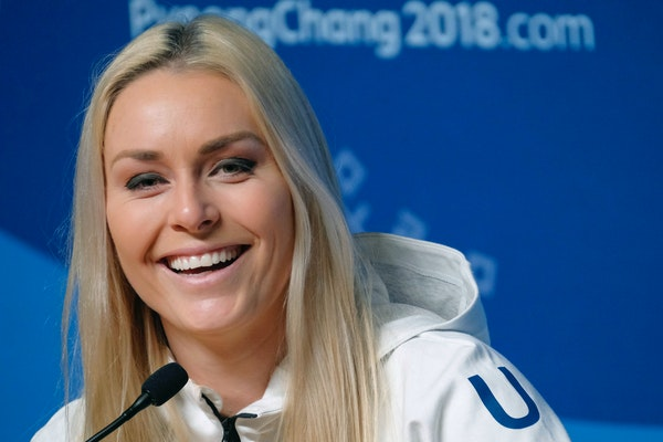 Lindsey Vonn answers questions during a press conference ahead of the 2018 Winter Olympics in Pyeongchang