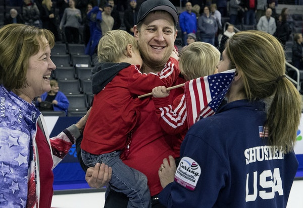 John Shuster was greeted by his family after his team won the gold medal at the U.S. Olympic curling team trials. Team Shuster beat Team McCormick to