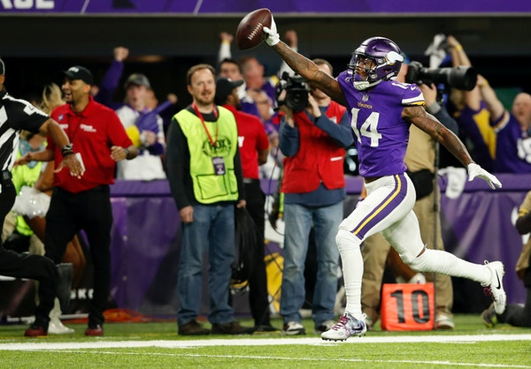 Vikings receiver Stefon Diggs scored a 61-yard touchdown to win Sunday's game over New Orleans 29-24.