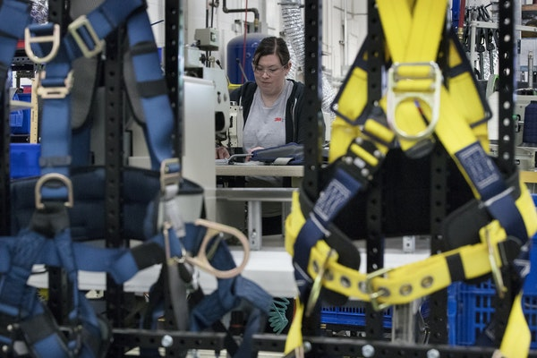 Manufacturing continues to grow in Minnesota. Pictured is a 3M plant in Red Wing that makes safety harnesses. (JERRY HOLT/Star Tribune file photo)