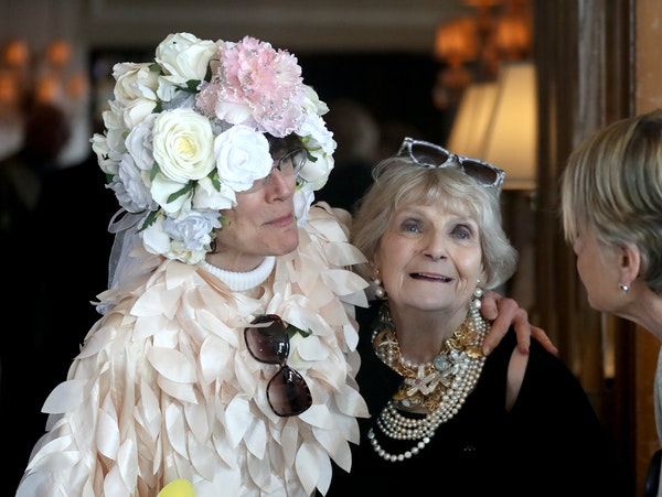 Barbara Carlson has received a diagnosis of stage 4 cancer. Family and friends threw her a party Saturday at the University Club in St. Pau . Here, Ca