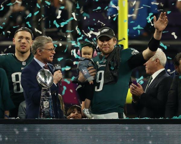 Philadelphia Eagles quarterback Nick Foles celebrated postgame after being named Super Bowl LII MVP.