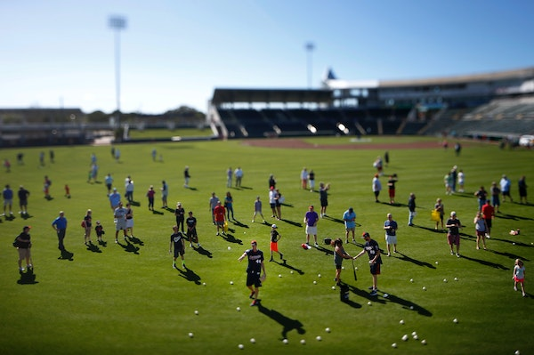 Pitcher Kyle Gibson threw a Wiffle ball to a young fan at Hammond Stadium in Fort Myers, FL during a spring training activity in 2016