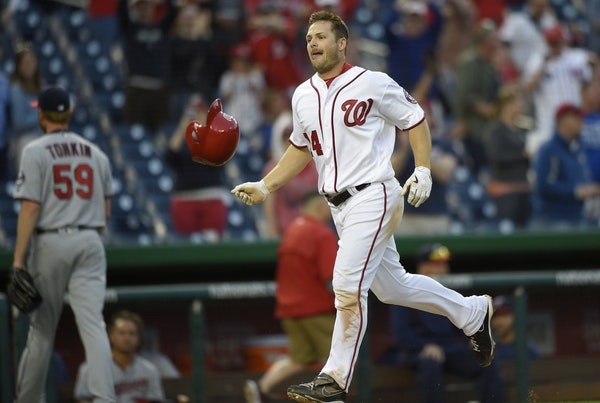 Chris Heisey after a walkoff home run for the Nationals in 2016.