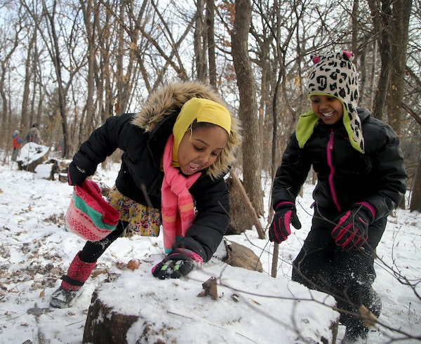 First-graders at Dowling Environmental Elementary School in Minneapolis made snowy creations Dec. 8 during their weekly Free Forest School outing.