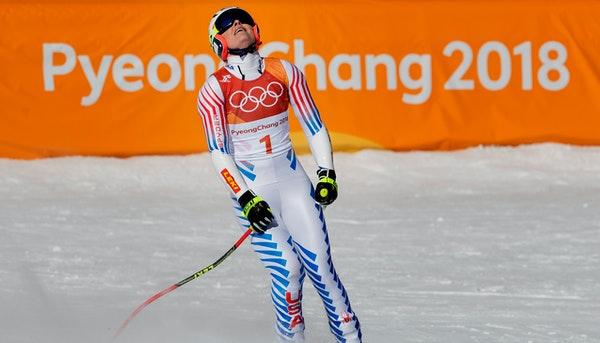 Lindsey Vonn after her run at the women's Super-G at Jeongseon Alpine Centre on Saturday.