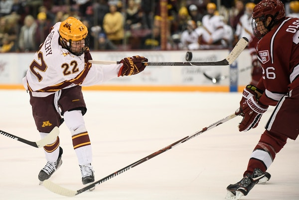 Tyler Sheehy is coming off a five-point weekend vs. Wisconsin. (Star Tribune file photo by AARON LAVINSKY, aaron.lavinsky@startribune.com)
