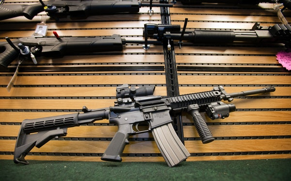 The Colt AR-15 semi-automatic rifle on display at Joe's Sporting Goods in St. Paul in 2012.