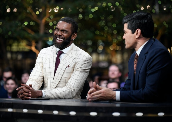 """Former Vikings wide receiver Randy Moss joked with former Patriots linebacker Tedy Bruschi on Thursday during an appearance on ESPN's """"SportsCente"""