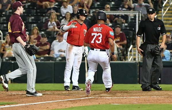 A walk-off wild pitch brought Twins outfielder LaMonte Wade home for Thursday's winning run.