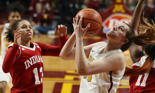 Gophers center Jessie Edwards, above vs. Indiana, has helped Minnesota average a Big Ten-high 43.4 rebounds per game.