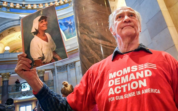 """""""If this is not the tipping point, we're getting awfully close,"""" Bob Mokos said on the opening day of the legislative session, holding a photo of"""
