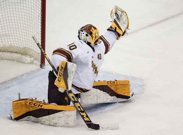 Gophers goalie Mat Robson made a glove save against St. Cloud State in early January. (Star Tribune photo by CARLOS GONZALEZ, cgonzalez@startribune.co