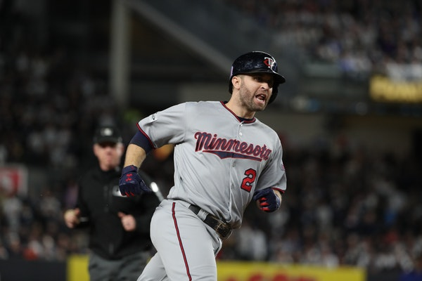 Brian Dozier homered to lead off October's AL wild-card game between the Twins and Yankees in New York.