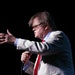 """Garrison Keillor, shown during a 2016 """"Prairie Home Companion"""" show, gave his first interview since his break with MPR."""