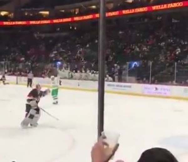 Sweet moment of goofy sportsmanship at state hockey
