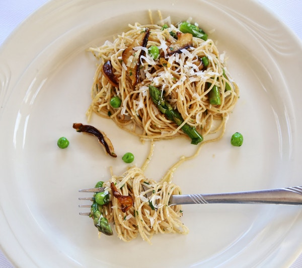 Springtime Pasta With Asparagus and Shiitakes.